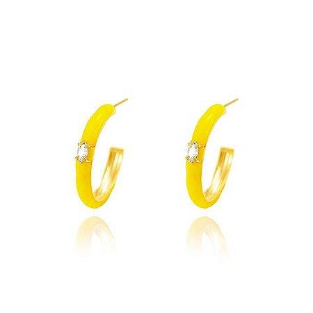 Brinco Argola Resina Amarela G Folheado Ouro Amarelo 18K