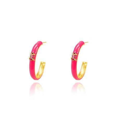 Brinco Argola Resina Pink G Folheado Ouro Amarelo 18K