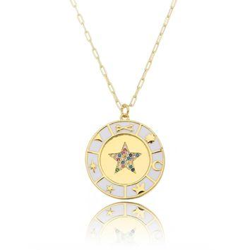 Colar Medalha Estrela Resina com Microzircônias Folheado Ouro Amarelo 18k