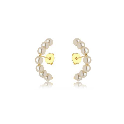 Brinco Ear Hook 7 Pérolas Folheado Ouro Amarelo 18k