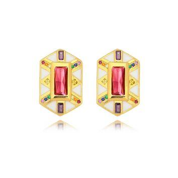 Brinco Resinado Cristal Vermelho com Microzircônias Folheado Ouro Amarelo 18k