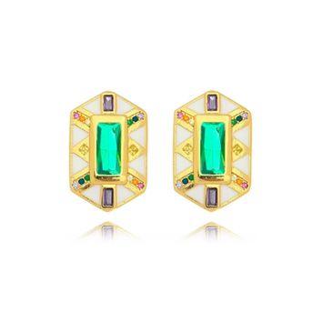 Brinco Resinado Cristal Verde com Microzircônias Folheado Ouro Amarelo 18k
