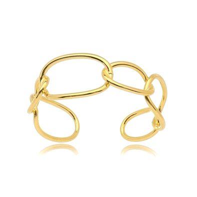 Bracelete Elos Grandes Folheado Ouro Amarelo 18k