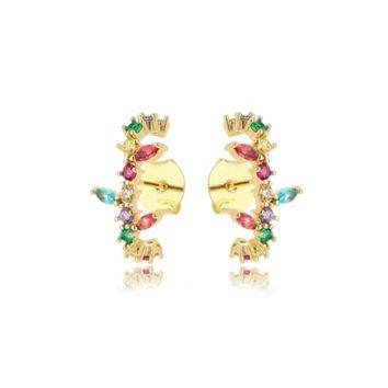 Brinco Ear Hook Cristais Coloridos Folheado Ouro Amarelo 18k