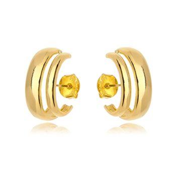 Brinco Ear Hook Duplo Liso Folheado Ouro Amarelo 18k