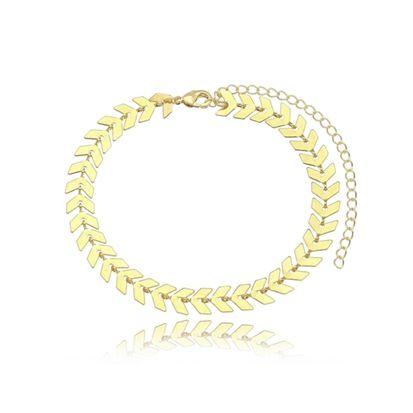 Pulseira Escama de Peixe Folheada Ouro Amarelo 18k