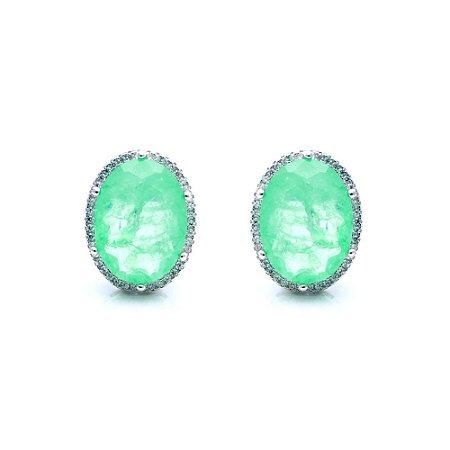 Brinco Oval Esmeralda Fusion com Microzircônias em Prata925