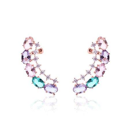 Brinco Ear Cuff Cristais Ovais com Microzircônia Folheado Ouro Rosé 18k