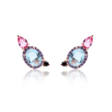 Brinco Oval Cristal Topázio Azul e Gotinha Cristal Turmalina Rosa Folheado Ouro Rosé 18k