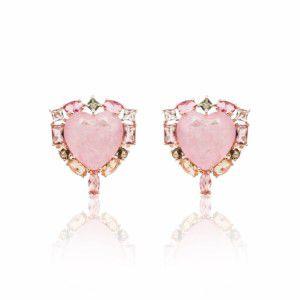 Brinco Coração Fusion Turmalina Rosa e Cristais Folheado Ouro Rosé 18k