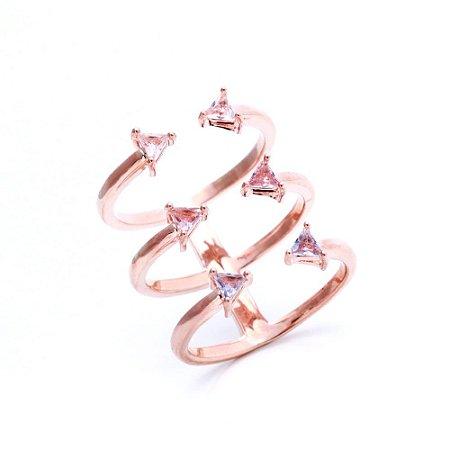 Anel Triângulos Cristal ARO 15 Folheado Ouro Rosé 18k