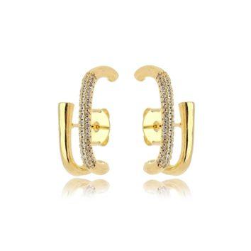 Brinco Ear Hook Liso e Cravejado Folheado Ouro Amarelo 18k