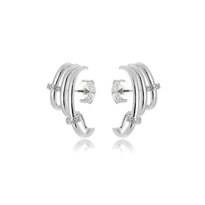 Brinco Ear Hook 3 Fileiras e Microzircônias Folheado Ródio