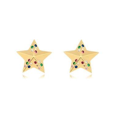 Brinco Estrela Microzircônias Coloridas Folheado Ouro Amarelo 18k