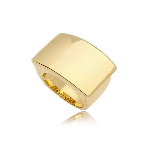 Anel Retângulo Liso Folheado Ouro Amarelo 18k