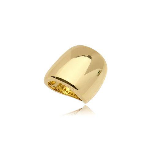 Anel Grosso Liso Folheado Ouro Amarelo 18k