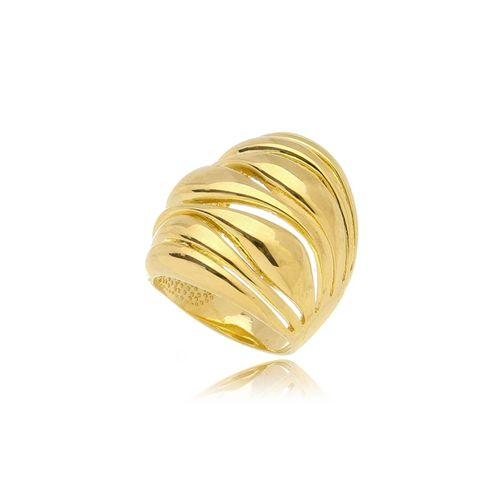 Anel Ondas Vazado Folheado Ouro Amarelo 18k