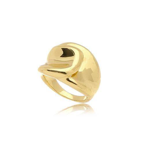 Anel Glamour Liso Folheado Ouro Amarelo 18k