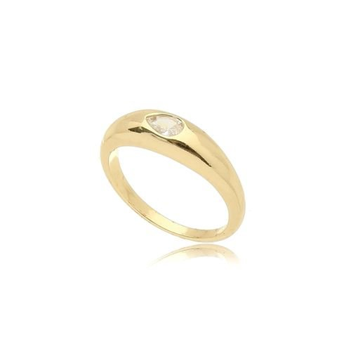 Anel Cristal Gota Folheado Ouro Amarelo 18k