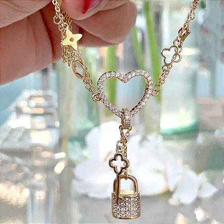 Pulseira Coração Chave e Cadeado Folheado Ouro Amarelo 18k
