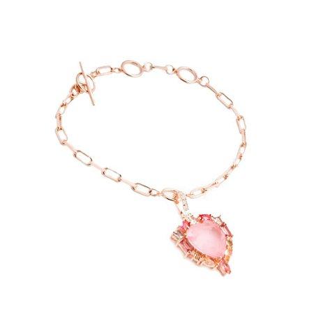 Pulseira Coração Turmalina Rosa Fusion Folheado Ouro Rosé 18k