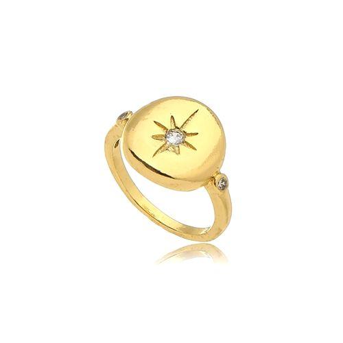Anel Estrela Cristal Mindinho Folheado Ouro Amarelo 18k