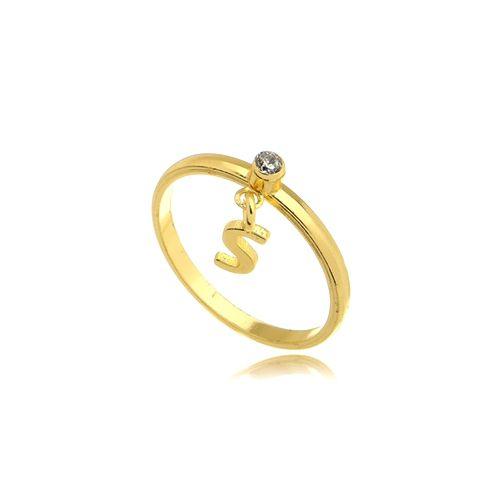 Anel Cristal Letra S Folheado Ouro Amarelo 18k