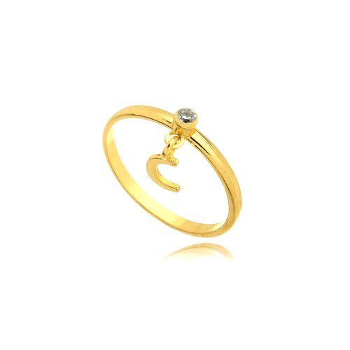 Anel Cristal Letra C Folheado Ouro Amarelo 18k