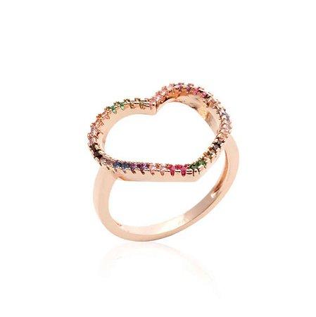 Anel Coração Vazado Rainbow Folheado Ouro Rosé 18k