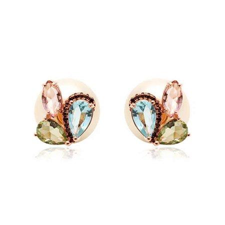 Brinco Ear Jacket Cristais Asas de Mariposa Fecho Pérola Folheado Ouro Rosé 18k
