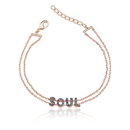 Pulseira Soul Cravejada Colors Folheado Ouro Rosé 18k