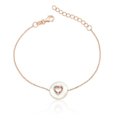 Pulseira Pérola Coração Colors em Prata Folheado Ouro Rosé 18k