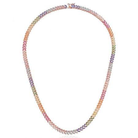 Colar Riviera Setinhas Colors Folheado Ouro Rosé 18k
