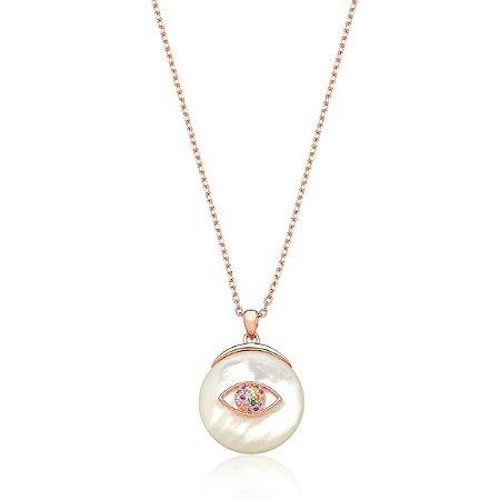 Colar Madrepérola Olho Grego Colors em Prata Folheado Ouro Rosé 18k