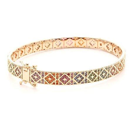 Bracelete Mosaico Nano Colors Folheado Ouro Amarelo 18k