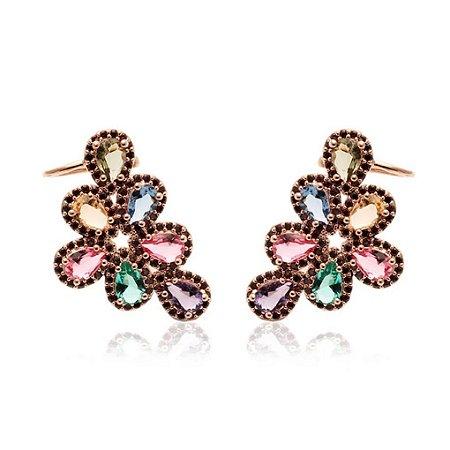 Brinco Ear Cuff 7 Gotas Colors Folheado Ouro Rosé 18k
