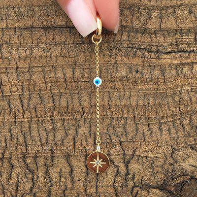 Charm Corrente Olho Grego & Medalha Estrela Folheado Ouro Amarelo 18k