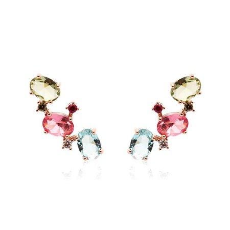 Brinco Ear Cuff Cristais Peridoto Topazio Turmalina Folheado Ouro Rosé 18k