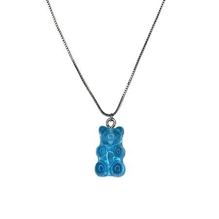 Colar Gummy Cristal Azul Folheado Ródio