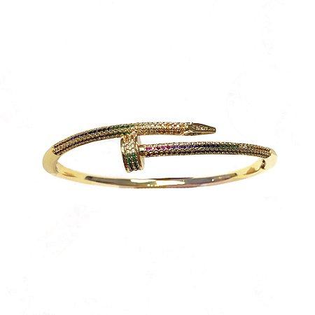Bracelete Prego Cravejado Rainbow Folheado Ouro Amarelo 18k