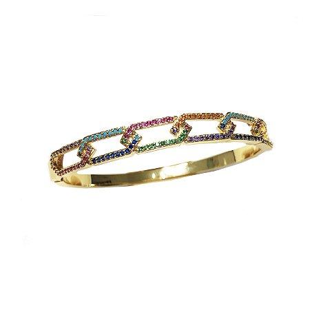 Bracelete Elos Quadrados Rainbow Folheado Ouro Amarelo 18k