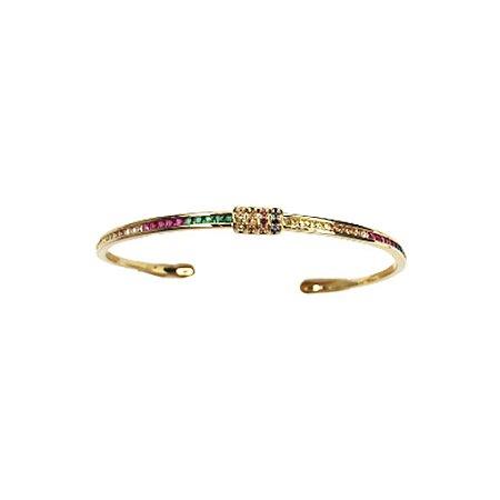 Bracelete Fino Rainbow Folheado Ouro Amarelo 18k