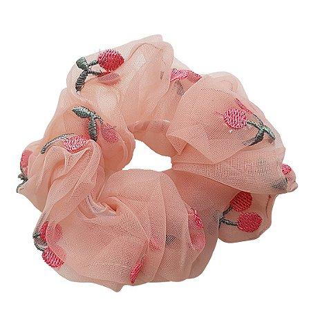 Scrunchie Cereja Organza Rosa