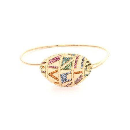 Bracelete Medalhão Nano Rainbow Folheado Ouro Amarelo 18k