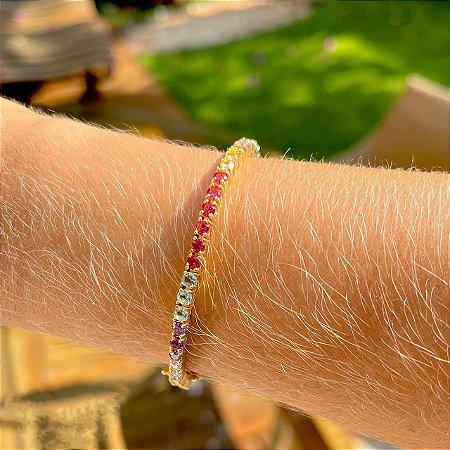 Pulseira Riviera Rainbow Turmalina Folheado Ouro Amarelo 18k