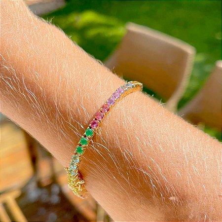 Pulseira Riviera Rainbow Esmeralda Folheado Ouro Amarelo 18k