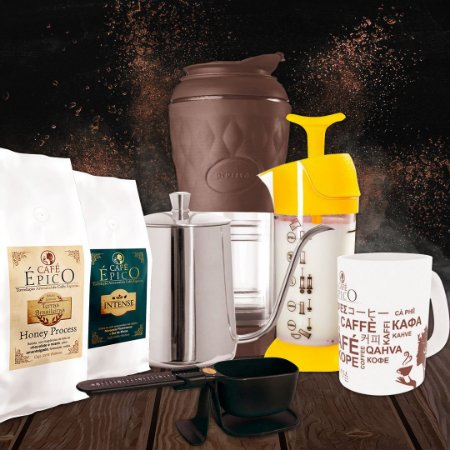 Kit presenteável Paizão Café Épico (Marrom e Amarelo)