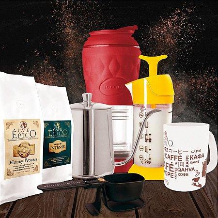 Kit presenteável Pressca Café Épico (Vermelho e Amarelo)