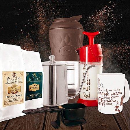 Kit apresentável Pressca Café Épico (Marrom e Vermelho)