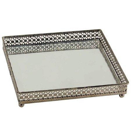 Bandeja Quadrada Espelhada Decorativa Luxo Metal Cromado Cor Ferro
